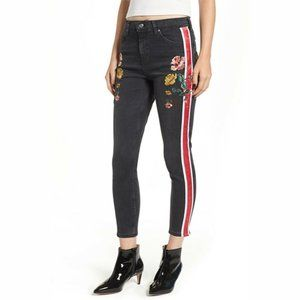 Mid Blue Embroidered Side Stripe Jamie Jeans